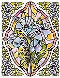 dpr. Fensterbild Set 5-tlg. - Tiffany Optik - Blumen - Veilchen/Stiefmütterchen - zart beglimmert - mit Eckbordüren - Fenstersticker Aufkleber - Fensterdeko