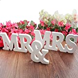 Misslight Mr & Mrs Lettres en bois pour décoration de mariage Sign Top Table Present Decor