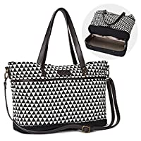 LIMITED OFFER Moskka 13 Pockets Baby Designer Nappy Tote Bag: Large Expandable Diaper Bag To Separate Dirty From Clean �?? Antimicrobial Lining Messenger Bag w/ Waterproof Changing Pad �?? Best Baby Shower Gift