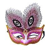 Venezianische Venetianische mit Pfau Federn Pink Maske Maske Maskerade Karneval Fasching Verkleidung Kostüm Halloween Party Maskenball Ball Shades of Grey Mr Grey Mitternacht