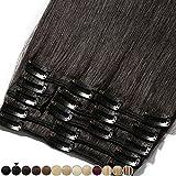 Extension a Clip Cheveux Naturel - 100% Cheveux Humain Remy Rajout Vrai Cheveux Naturel (#1B Noir naturel, 33cm-80g)