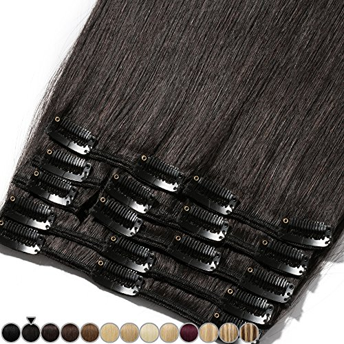 Extension capelli veri clip 8 fasce remy human hair full head xl set lisci lunga 18 pollici 45cm pesa 100grammi, #1b nero naturale