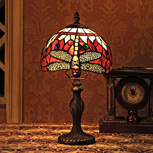 Gweat Tiffany 8-Inch dell'annata europea di stile di vetro macchiato Libellula E Perla calda colorata serie lampada da tavolo lampada da tavolo del lato del letto della luce