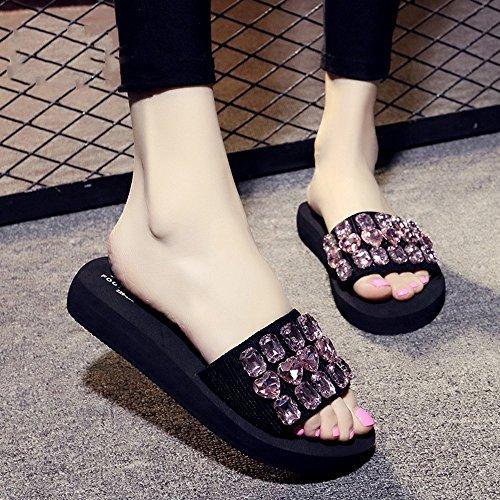 Pente avec sandales à talons hauts à bascule --- Sandales et pantoufles d'été femme Chaussures décontractées Chaussures de plage avec de nombreuses couleurs --- Herringbone fashion sweet Sandals #7
