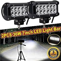 LED lavoro luce bar lampade, DRL luci di inondazione, 12V/24V–36W 17,8cm per SUV/utv/barca/offroad/4WD 4x 4/Van camper/trattore (confezione da 2)