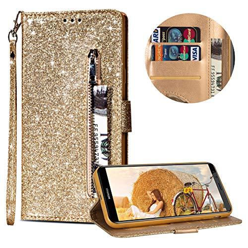 Reißverschluss Hülle für Huawei Mate 10 Lite,Gurt Glitzer Lederhülle für Huawei Mate 10 Lite,Moiky Stilvoll Luxus Gold Strass Wallet Stoßdämpfende Schutzhüllen mit Ständer Magnetisch Handytasche