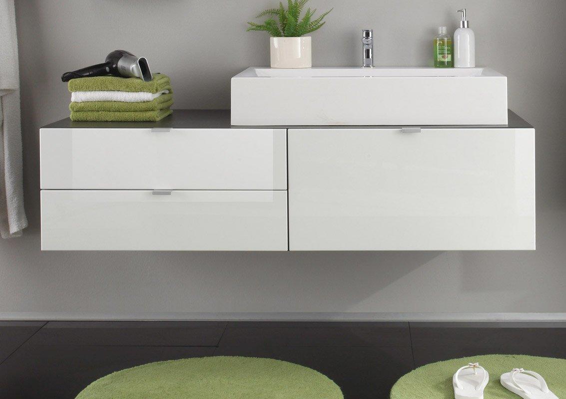 Bad unterschrank mit waschbecken  trendteam BH90503 Bad Möbel Set 4-tlg. weiss Hochglanz, grau ...