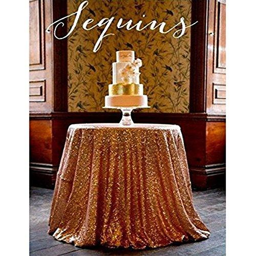 Shinybeauty 225 cm rund Pailletten Tischdecke machen Hochzeit Schönes Pailletten Tisch Tuch/Overlay/Cover, rose gold, 90in Round
