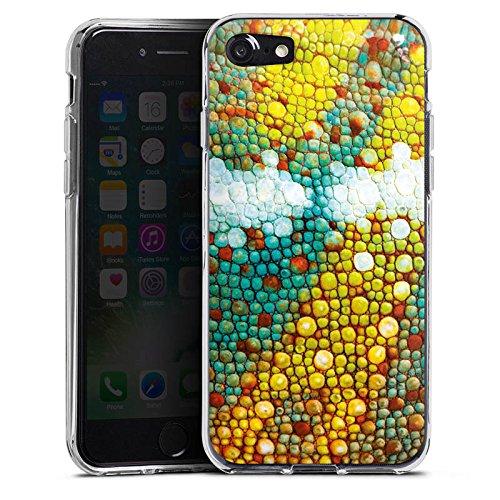 Apple iPhone X Silikon Hülle Case Schutzhülle Chamäleon Muster Chamäleonhaut Look Silikon Case transparent