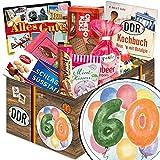 60. Geburtstag | DDR Korb | DDR Suessigkeiten-Box mit Puffreis-Schokolade, Liebesperlenfläschchen, Othello Keks Wikana uvm.
