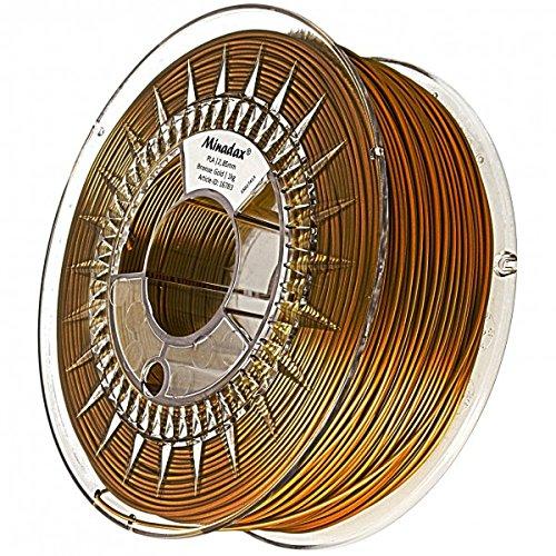 Minadax® 1kg Premium Qualitaet 3mm (2,85mm) PLA-Filament bronze fuer 3D-Drucker hergestellt in Europa