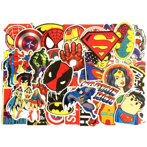 Price comparison product image Marvel DC Avengers Super Hero 50pcs Sticker Decal Pack - Superman Hulk Spiderman Captain America Deadpool Vinyls for Laptop,Kids,Teens,Cars,Motorcycle,Bicycle,Skateboard Luggage,Bumper Stickers Hippie