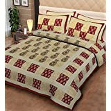 Pure Cotton Flat BedSheet For Double Bed King Size With 2 Pillow Covers Floral Print, Indian Ethnic Print - Maroon