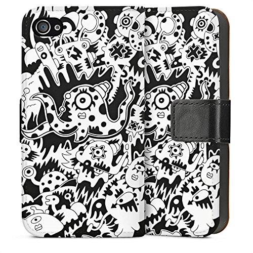 Apple iPhone 6 Housse Étui Silicone Coque Protection Pieuvre Noir blanc Créatures Sideflip Sac