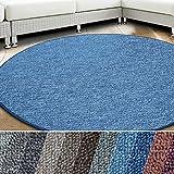 casa pura Teppich London | viele Größen | pflegeleichter flacher Schlingenflor | Flurteppich, Wohnzimmerteppich, Küchenteppich, Schlafzimmerteppich (Hellblau - rund 200 cm Durchmesser)