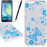 TPU Etui pour Samsung Galaxy A3 (2016), HB-Int 3 en 1 Original Motif Coque Fashion Design Housse Gel Silicone Souple Couverture Légère Slim Flexible Coque Protecteur Fonction Anti Choc Anti Rayure ?tui + Film de L'écran + Stylet (Bleu Papillon)