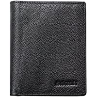 Wild Tribe Uomo Bifold cuoio genuino di vibrazione del raccoglitore Fino ID Finestra Multi-Card Extra Capacity billfold Slim Passcase Pebble Grain Leather Purse