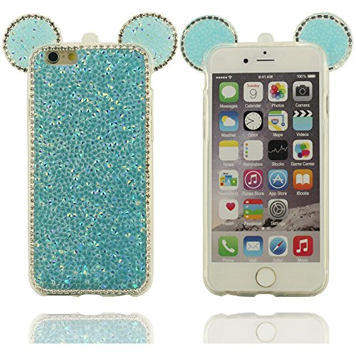 Klar modisches Design in verschiedenen Farben Reihe stilvolle kühle Mickey Mouse-Form Hartplastik Schutzhülle Abdeckung case für Apple iPhone 6 plus / 6S plus Hülle 5.5 inch blau