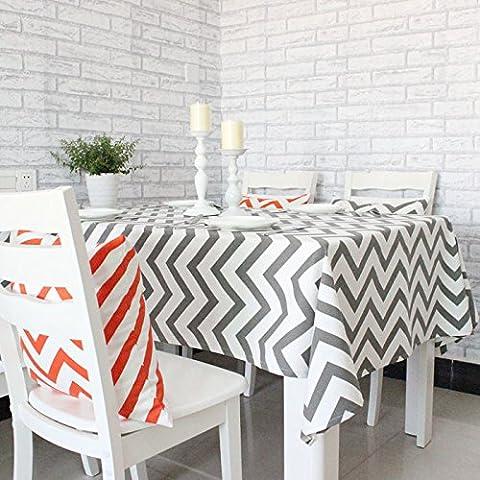 UKGiftOnline Chevron Zig Zag (mezcla de algodón y lino lienzo blanco impreso mantel (amarillo, negro, naranja, azul marino, azul, gris), Gris, 80 x 120