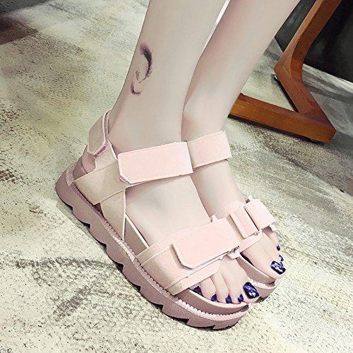 RUGAI-UE Flat Sandals' Loisirs Été Chaussures plate Pink