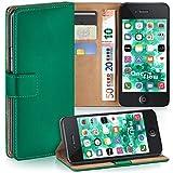 moex iPhone 4S | Hülle Dunkel-Grün mit Karten-Fach 360° Book Klapp-Hülle Handytasche Kunst-Leder Handyhülle für iPhone 4/4S Case Flip Cover Schutzhülle Tasche