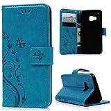 Lanveni Blaugrün Eingebeulter Druck PU Leder Case für HTC One M9 Handycover Schutzhülle Polychrome Tasche Handyschalen Standfähig Etui mit Steckplatz und Magnetverschluss