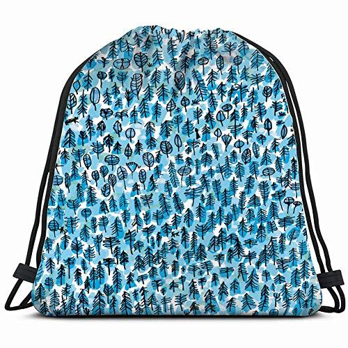 fjfjfdjk Winter Forest Nature Drawstring Backpack Gym Sack Lightweight Bag Water Resistant Gym Backpack for Women&Men for Sports,Travelling,Hiking,Camping,Shopping Yoga Greenwood Wallpaper