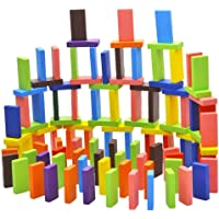 Fiddlys 12 Color Wooden Dominos Blocks Set, Kids Game Educational Play Toy, Domino Racing Toy Game (120 Pcs)
