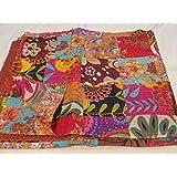 Tribal Asian Textiles Couvre-lit fait main  pur coton réversible taille Queen