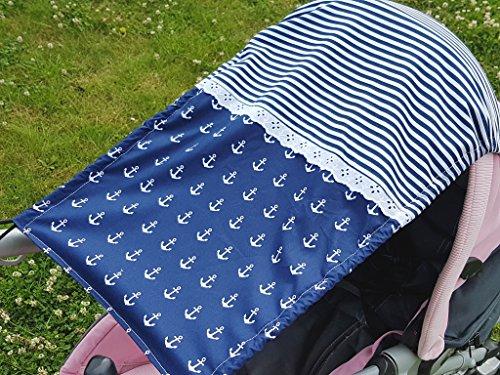 Sonnensegel UV-Schutz marineblau Streifen Anker blau Spitze Baby Kinderwagen