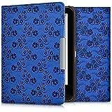 kwmobile Cover per Tolino Vision 1 / 2 / 3 / 4 HD - Custodia protettiva a libro per e-reader in similpelle - Case flip per e-book reader Design viticcio fiori blu