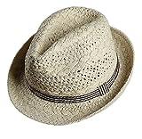 Gespout Adulto Primavera Estate Cappello di Paglia Uomo Donna Cappello da Jazz Protezione Solare Cappellini con Visiera Cappello da Sole Cappello Panama Berretto da Spiaggia,Cachi