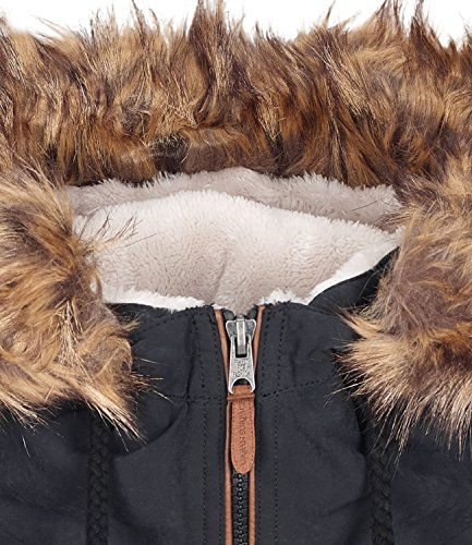 URBAN SURFACE Damenjacke Winter Übergangsjacke mit Teddyfell und Kapuze S-XL Schwarz