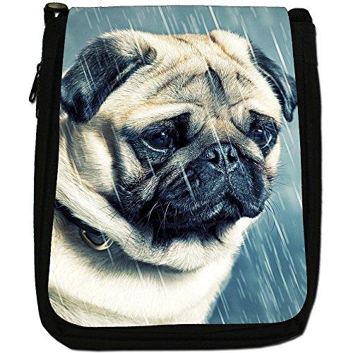 Asiatica carlino Dogs in porcellana Love, colore: nero, Borsa a spalla in tela da uomo, taglia media Nero (Pug In The Rain)