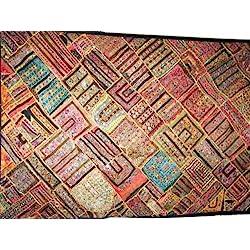 Indio Espejos de Pared Decor Negro bordado Tapiz india Kutch 78x 40pulgadas