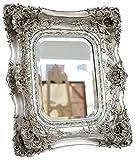 Spiegel 65x72cm Wandspiegel silberfarben Verzierungen Rosen antik Stil mirror - 2