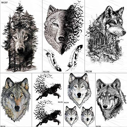 Temporäre Tattoo-Aufkleber Schwarzer Wolf Wald Tribal Feather Tattoos Temporäre Aufkleber Baum Wilde Tier Fake Tattoo Für Männer Kunst Custom Tatoos