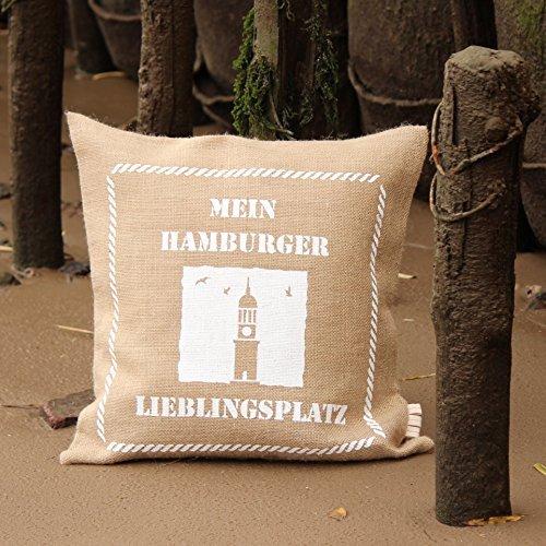 Jute-Kissen-Bezug * HAMBURG ... mein Lieblingsplatz* / Kaffee-Sack-Leinen / Rupfen / Dekoration: maritim & rustikal & vintage - Shabby-Chic-Style - Retro: Dekokissen 50 cm x 50 cm -...