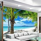 NXMRN Wallpaper Tapete Plakat Poster Fototapete Strand-Kokosnuss-Wand-Malerei Sofa Living Room TV-Hintergrund-Foto des modernen Strandmeeres 3D moderner 150cmx100cm