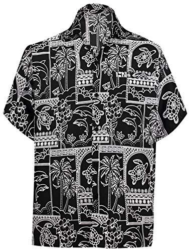 LA LEELA männer Hawaiihemd Kurzarm Button Down Kragen Fronttasche Beach Strand Hemd Manner Urlaub Casual Herren Aloha schwarz_237 L Likre A_125 - Button-down-vintage-shorts