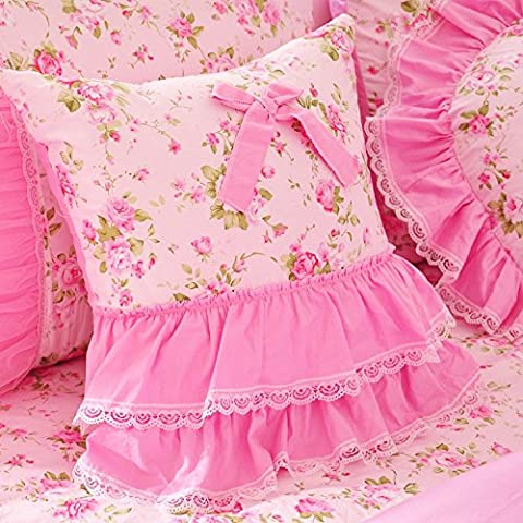 MeMoreCool rosa Floral Pastoral Estilo en forma de corazón/cuadrado/Candy/redonda manta almohada, decoración del hogar sofá cojín, algodón, Rosa, Size2