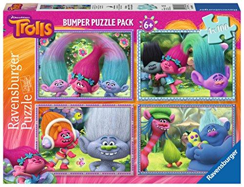 TROLLS Bumper Pack, puzzles 4 x 100 piezas