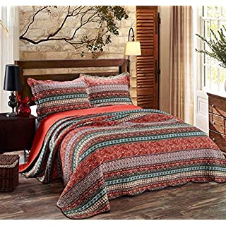 Alicemall 3-piece Bedspread Set Purple Blue Stripe Pattern SetVintage 3 Piece Quilted Patchwork Bedspread Throw Set Comforter Pillow Case