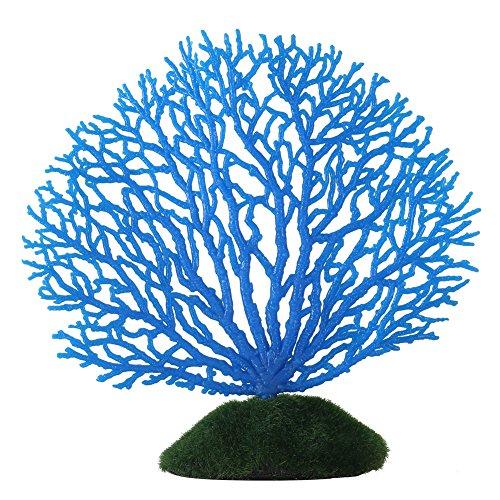 al Ornament Streifen Korallen Pflanze Ornament Glowing Effect Silikon Künstliche Dekoration für Aquarium Aquarium Landschaft(blau) ()