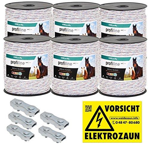 *1200m Kunststoffseil 6mm mit Seilverbindern Weidezaunseil Weidezaun Litze Kordel für Pferdezaun Pferdekoppel*