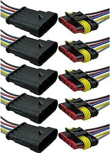 Mintice Trade 5 X 5 Polig Kabel Steckverbinder Stecker Wasserdicht Schnellverbinder Draht Elektrisch Ausrüstung Kfz Lkw Auto