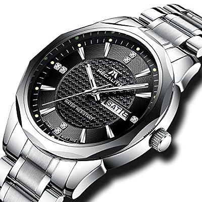 Relojes Hombre Acero Inoxidable Reloj de Pulsera de Lujo Moda Impermeable Fecha Calendario Clásicos Analogicos Reloj de Cuarzo Para Hombres Negocio Casual con Dial Negro Caja de Acero de Tungsteno
