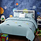 Urban Dream Kids LAMP Print Blue and Grey BEDSHEET Set (Single Bed)