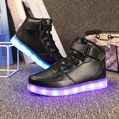 DoGeek LED Schuhe Kinder 7 Farbe USB Auflade Leuchtend Sportschuhe Led Sneaker Turnschuhe Schwarz