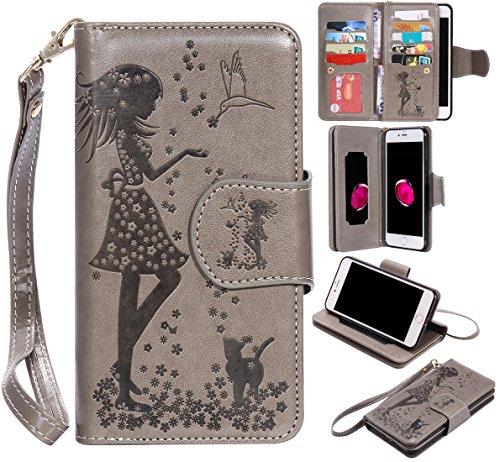Nancen Compatible with Handyhülle iPhone 7 Plus iPhone 8 Plus (5,5 Zoll) Hülle, Prägung Mädchen Schmetterling Blume Vögel und Katze Muster Doka-Tasche [Grau]